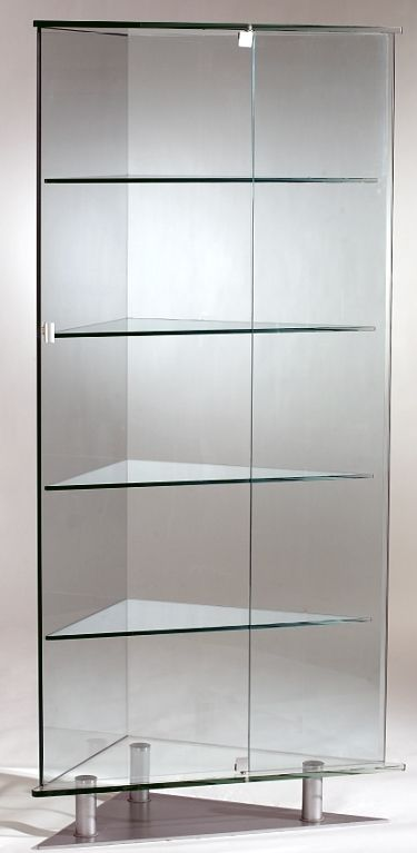 All Glass Triangular Curio Cabinet W Shelves Glass Cabinets Display Shelves Curio Cabinet