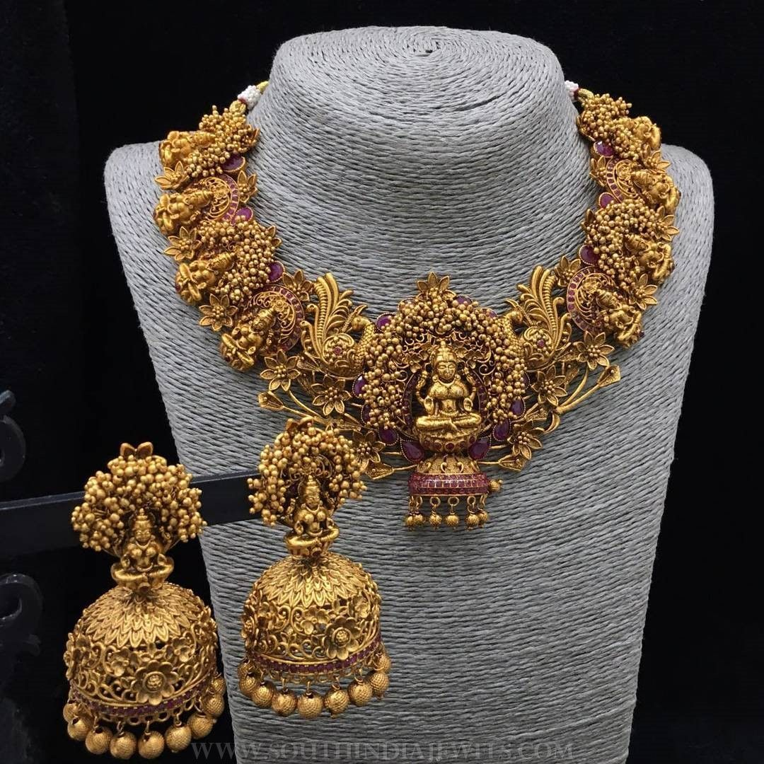 Bold Bridal Temple Necklace Set With Images Antique Jewelry