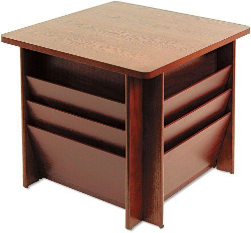 "Buddy Products 929816 Reception Table, Square, 23-1/4w x 23-1/4d x 21h, Mahogany by Buddy. $225.62. Removable top reveals additional storage inside. Save space and get organized. Side pockets for literature, brochures, and magazines. Accommodates magazines, literature and oversized materials.. Solid oak frame. 3-in-one unit stores, displays and organizes. Three 6-1/2"" deep pockets per side with woodgrain laminate dividers.. Sturdy solid wood base with woodgrain laminate to..."