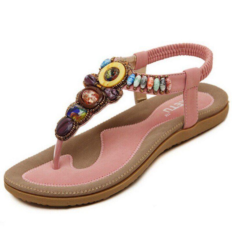 7a5c38554c04 Bohemian Women Sandals Gemstone Beaded Slippers Summer Beach Sandals Women  Flip Flops Ladies Flat Sandals Shoes