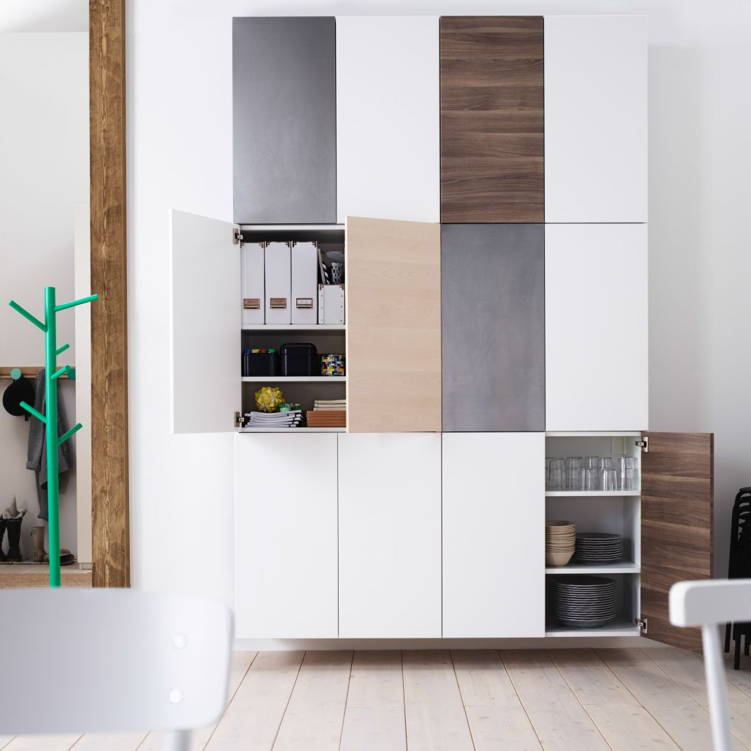Wall of double door ikea kitchen cabinets stacked two wide and three high home pinterest Ikea narrow kitchen cabinet