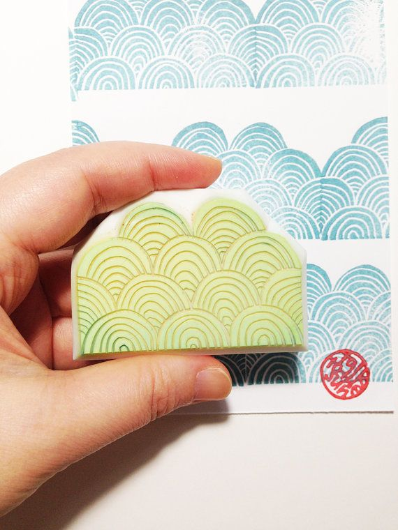 Asian wave motif rubber stamps
