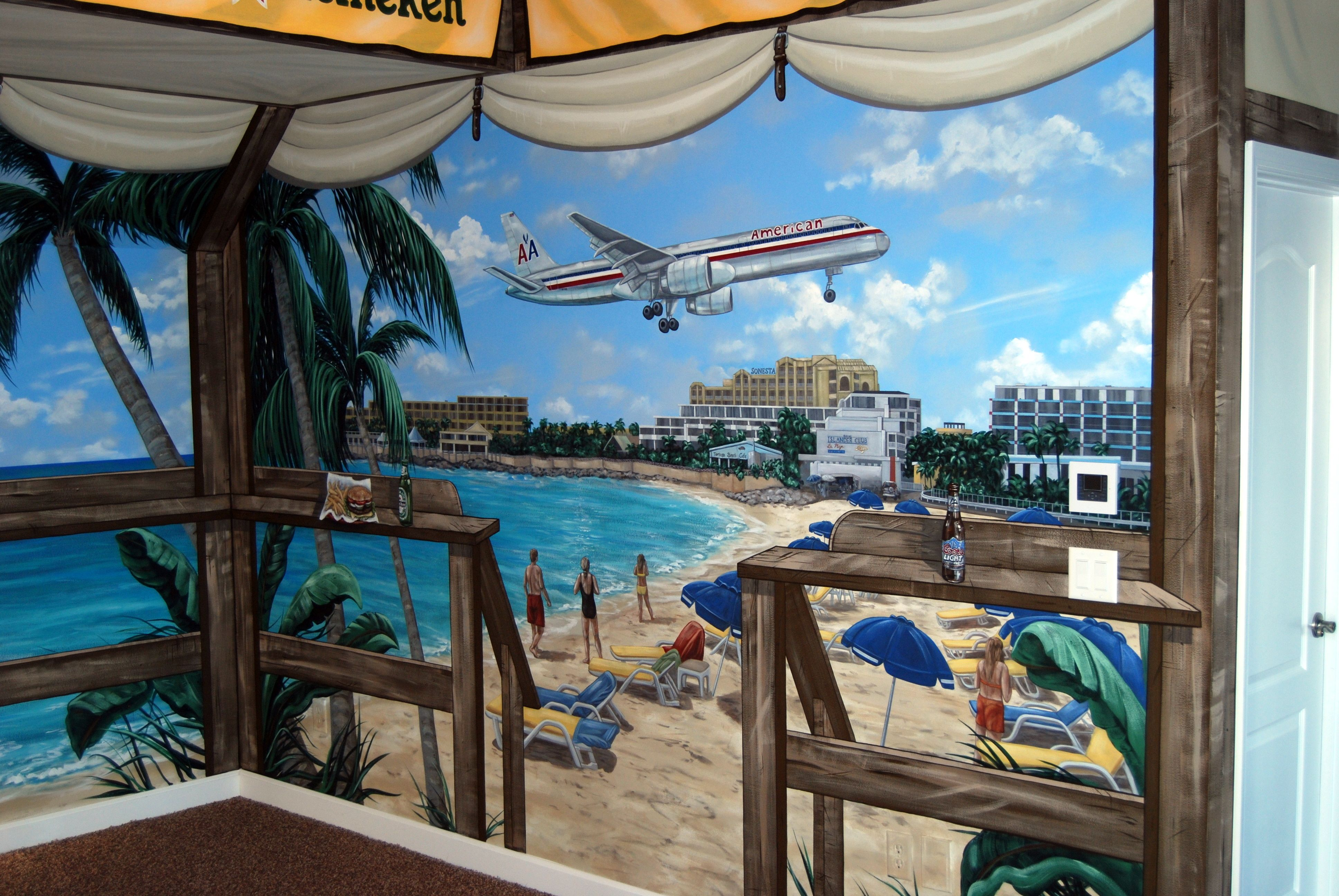 St Maarten Beach Bar Themed Mural By Tom Taylor Of Wow Effects