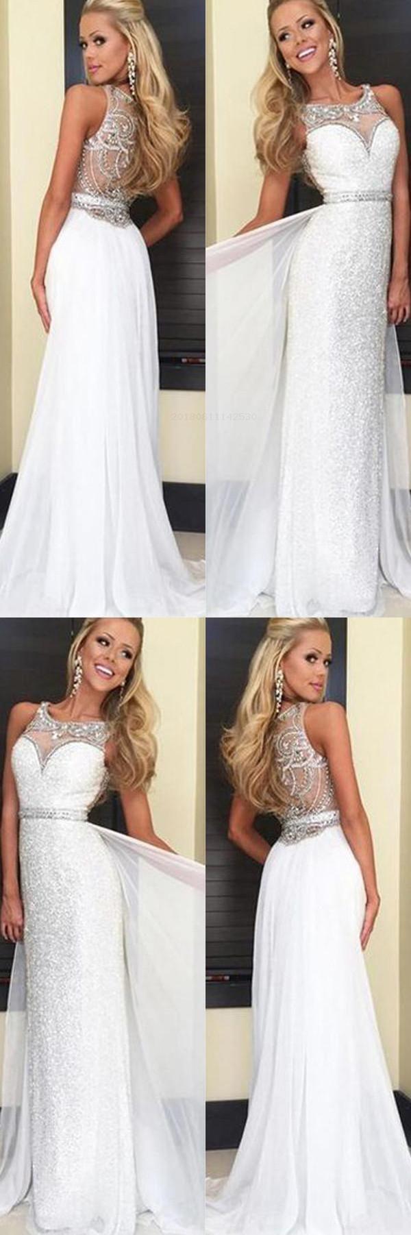 的 custom made vogue white chiffon long 主题 prom dresses