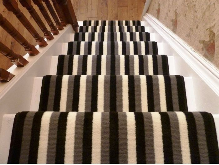 Black Grey And Cream Stripes Stair Runner In 2019