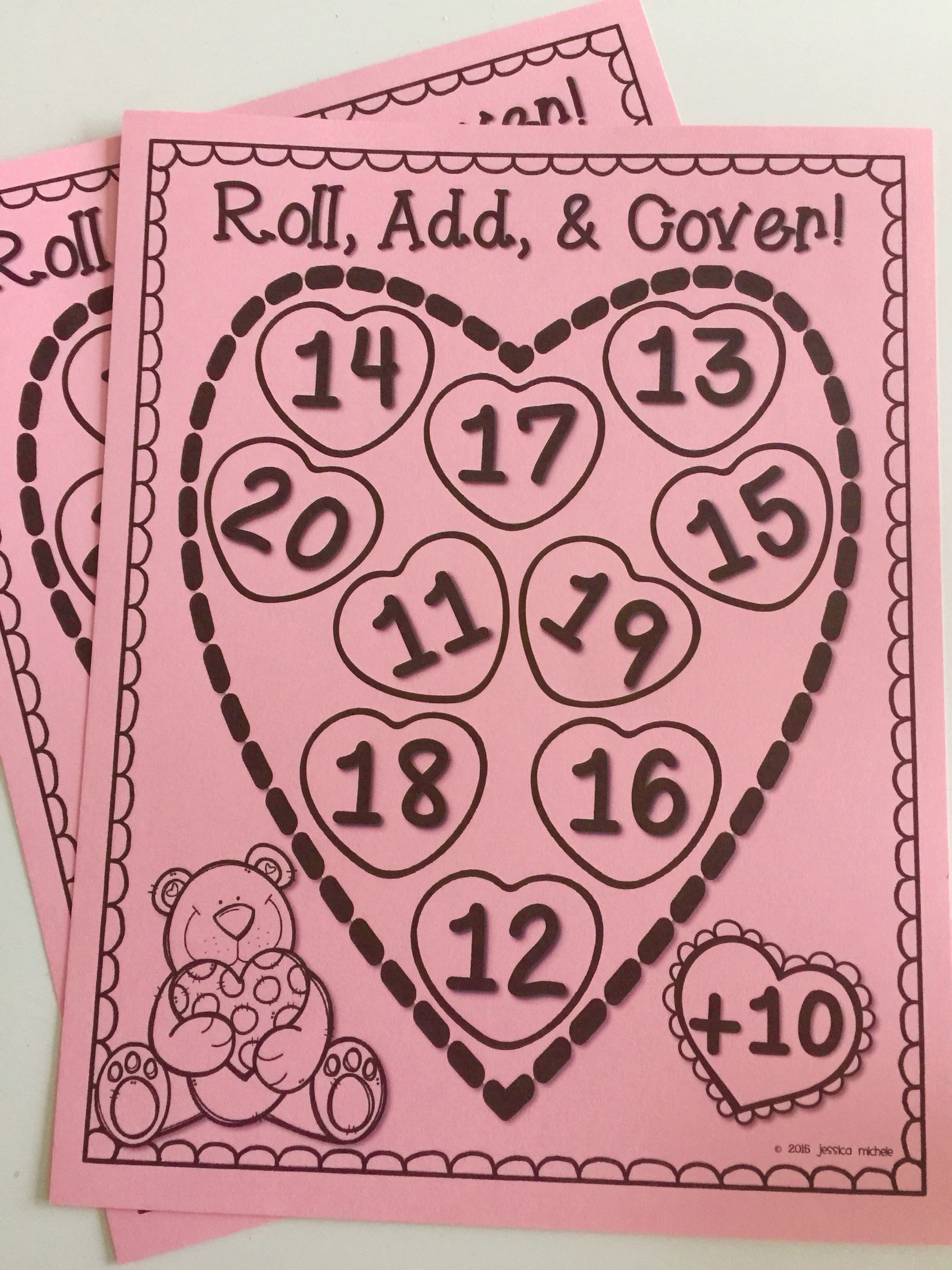 Roll Add And Cover Math Games Valentine S Day