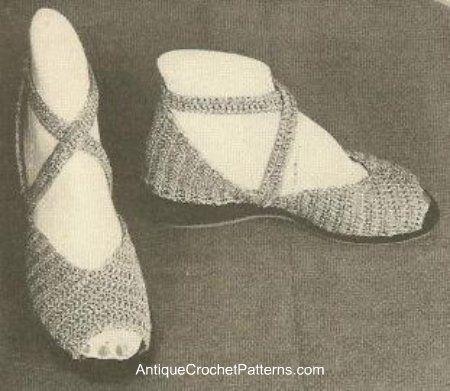http://www.antiquecrochetpatterns.com/evening-sandals.html Evening ...