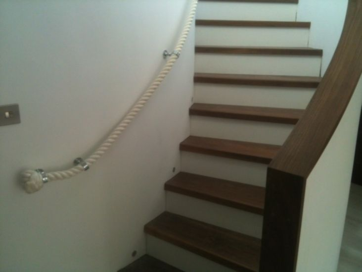 Best 32Mm Cotton Rope Stairs Banister Handrail With Chrome 400 x 300