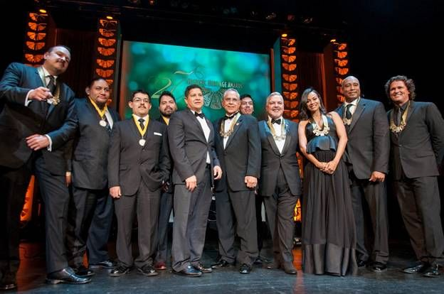 Honorees From Left Pepe Aguilar Members Of The Carl Hayden High