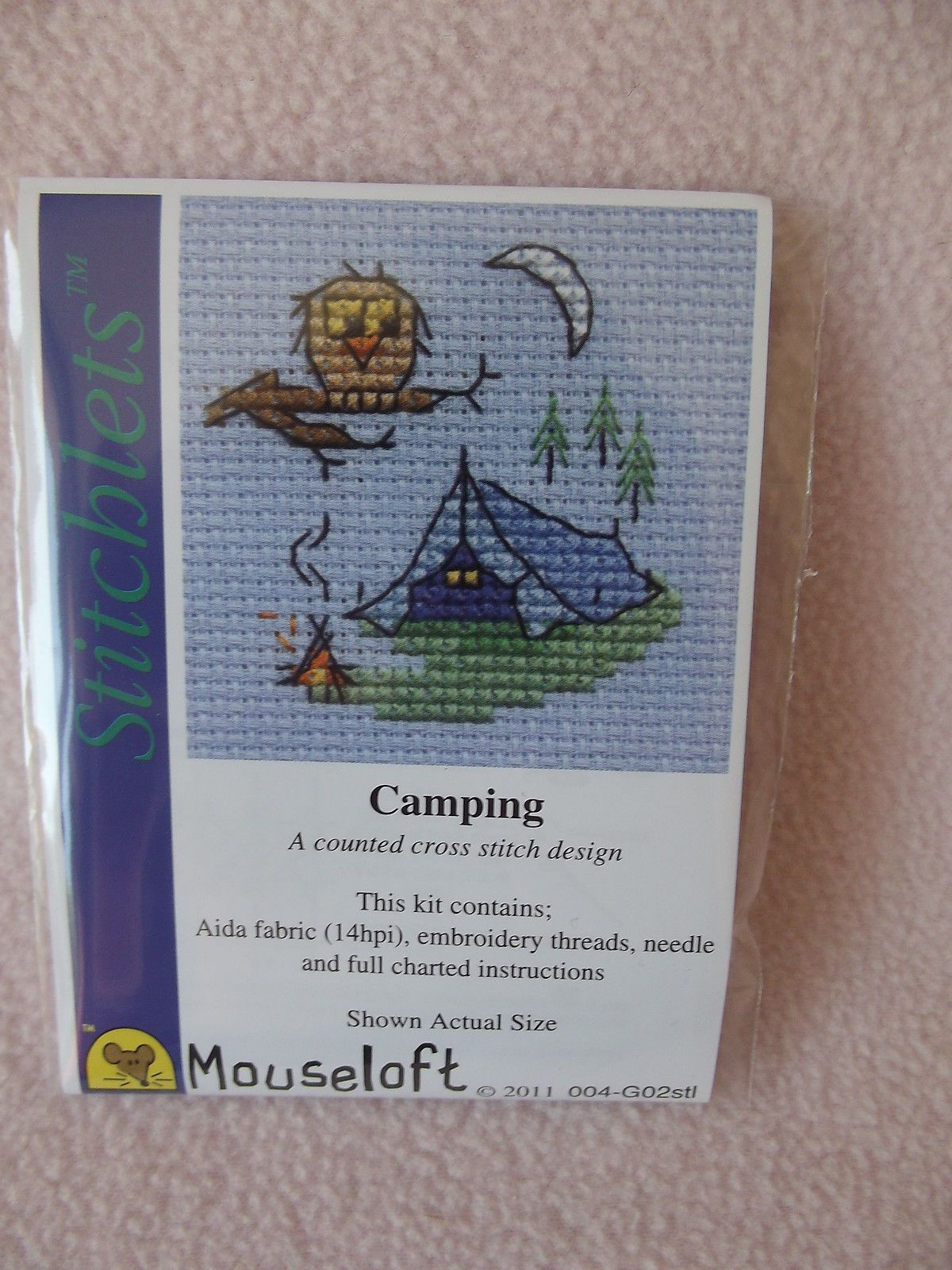 MOUSELOFT STITCHLETS CROSS STITCH KIT ~ CAMPING ~ NEW