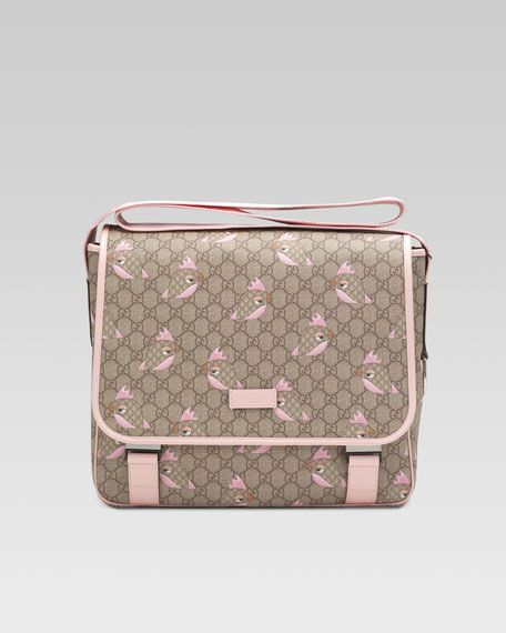 f38a2ecf8f6b GG Zoo Birds Diaper Bag Brown/Pink | Kids ideas | Gucci baby clothes ...