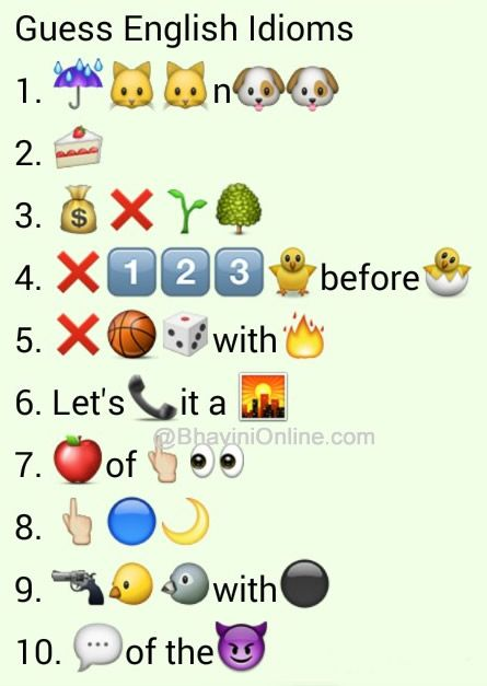 Whatsapp Puzzles: Guess the English Idioms and Phrases From