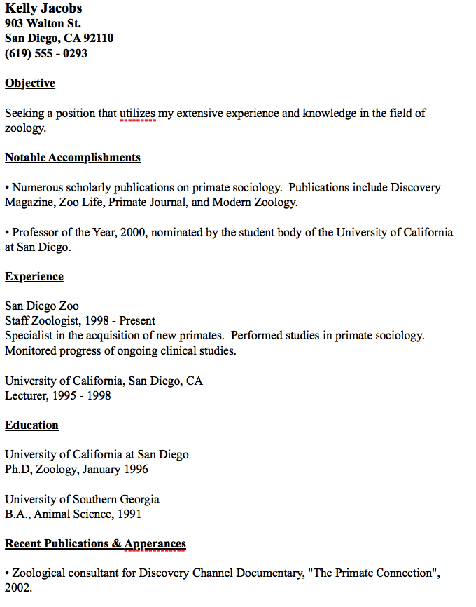 Zoology Resume Examples Resume Examples Resume Examples Cv Template Zoology