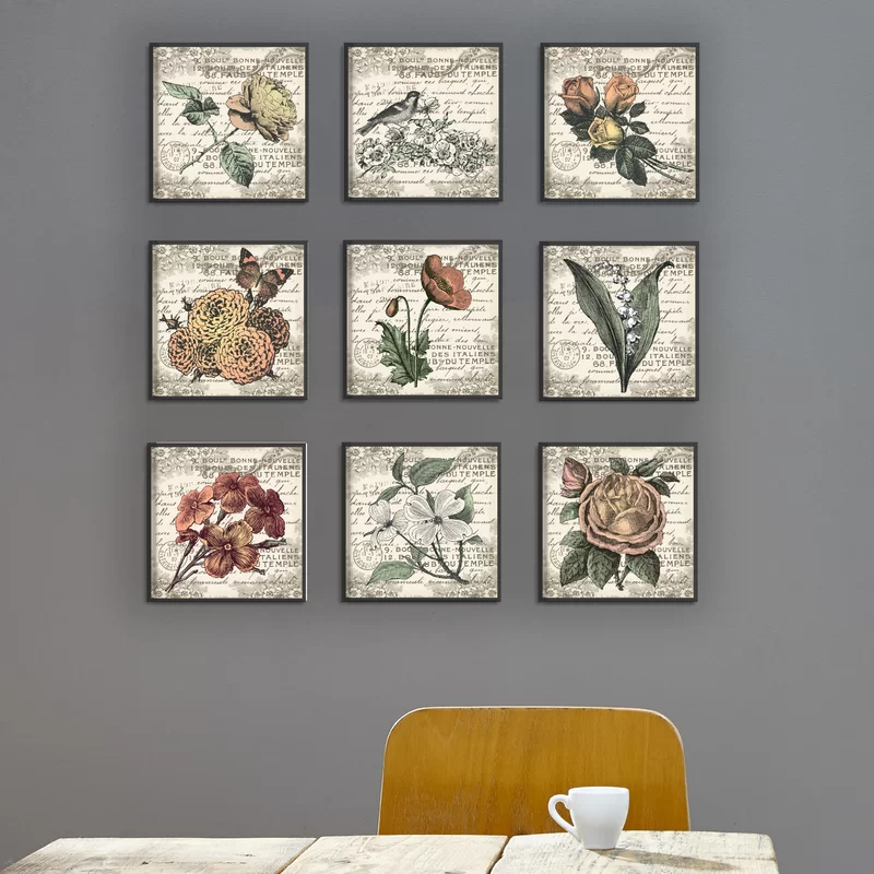 French Botanical Illustrations 9 Piece Wrapped Canvas Graphic Art Print Set In 2021 Canvas Wall Art Set Framed Wall Art Sets Art Print Set
