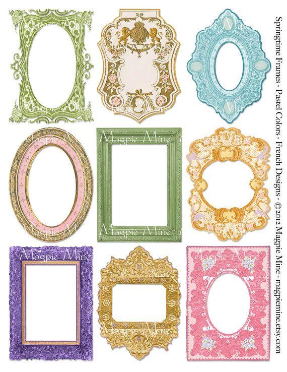 Springtime Frames Collage Sheet - Easter Spring - Light French ...