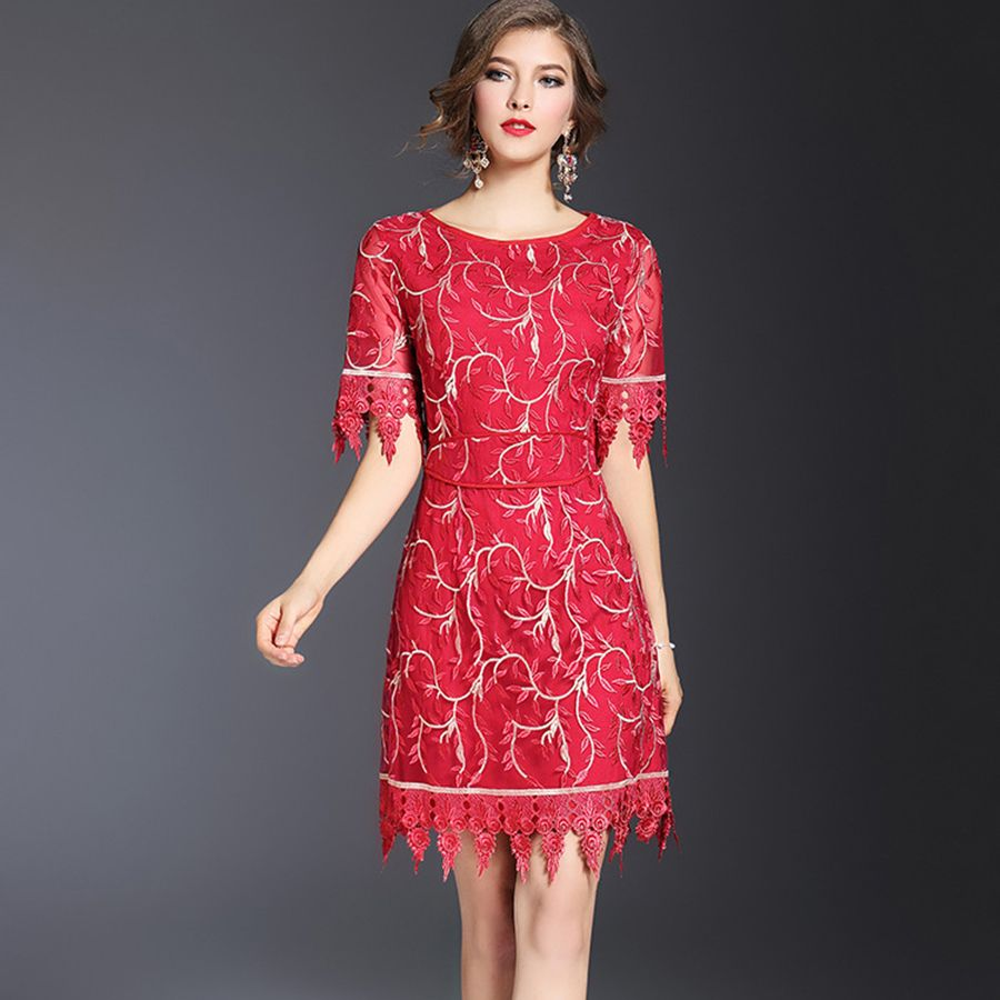 Designer dress women new summer fashion short sleeve leaf