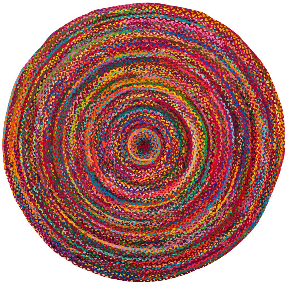 Safavieh Braided Red Multi 5 Ft X 5 Ft Round Area Rug Cotton Rug Colorful Rugs Area Rugs