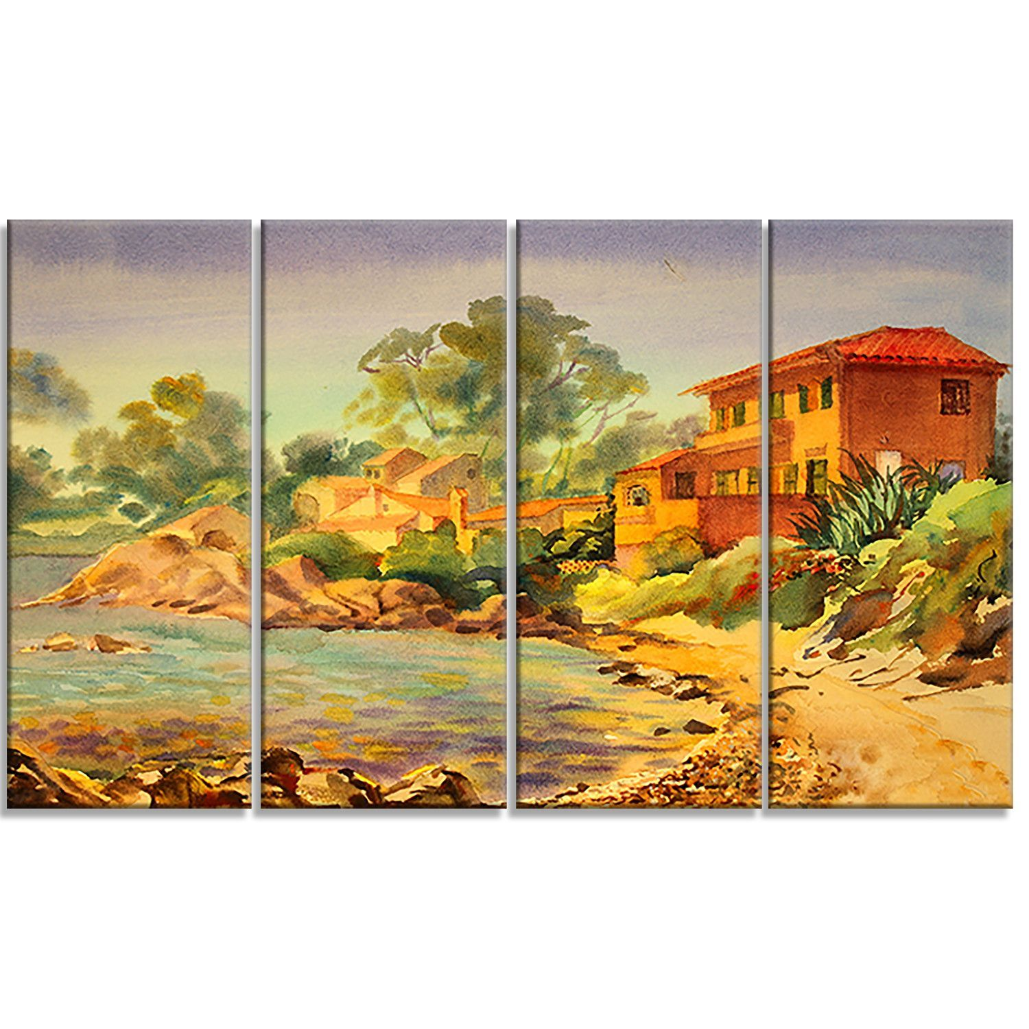 French Riviera Landscape 4 Piece Painting Print on Wrapped Canvas ...