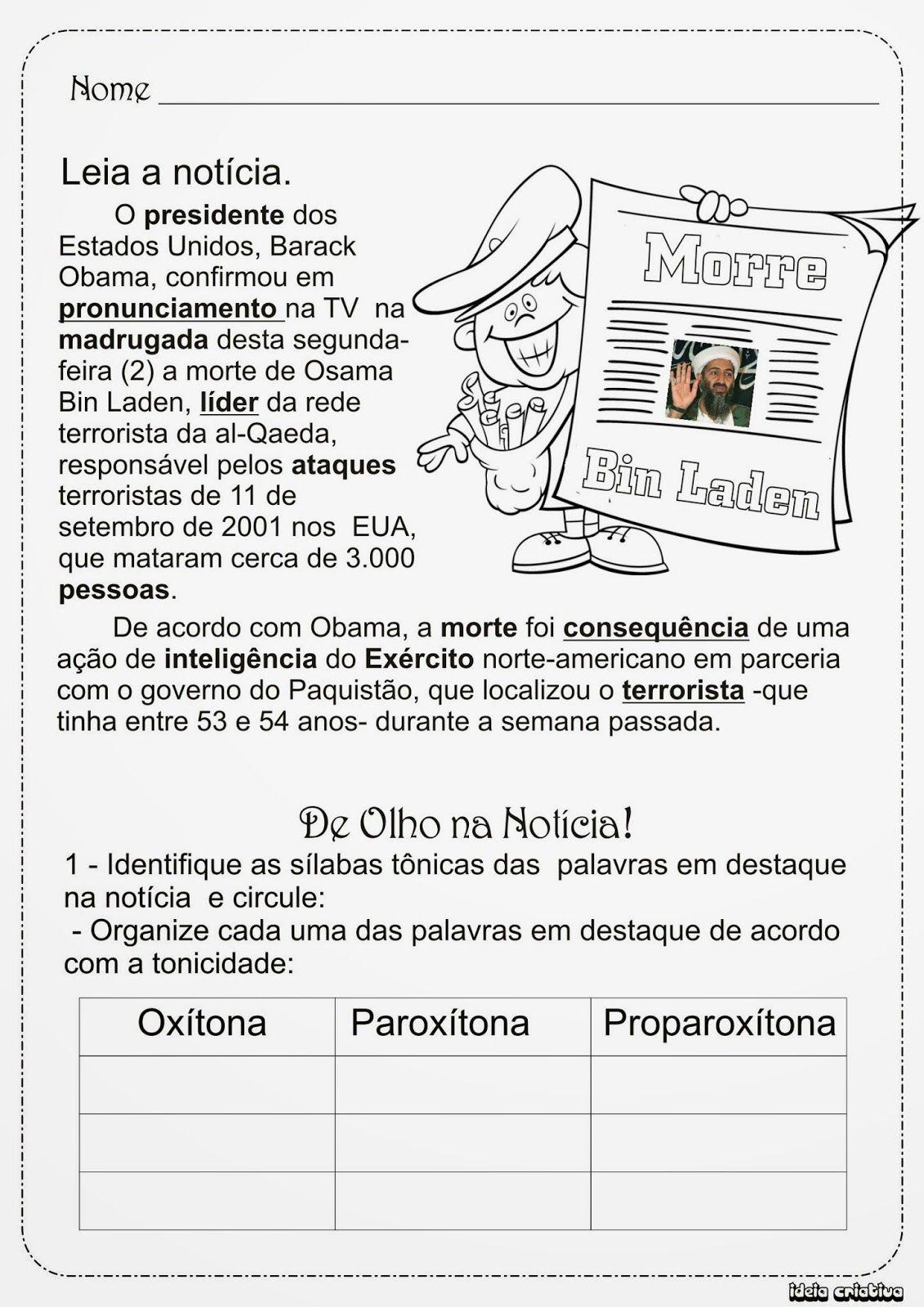 Aula Atividade Silaba Tonica Com Texto Jornal Em 2020 Com Imagens