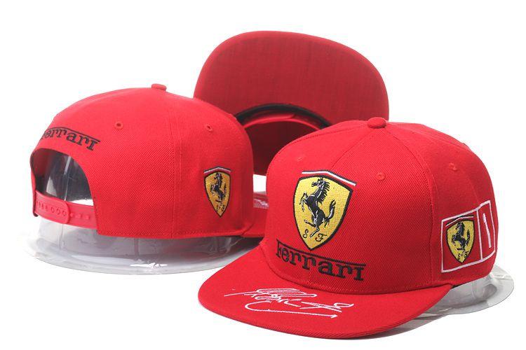 Ferrari Snapback Hats Caps Red a63e962b5a2