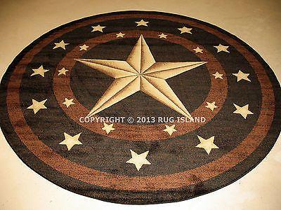 8 Round 7 10 X 7 10 Texas Lone Star Rustic Cowboy Western Black Area Rug Area Rugs For Sale Black Area Rugs Texas Star