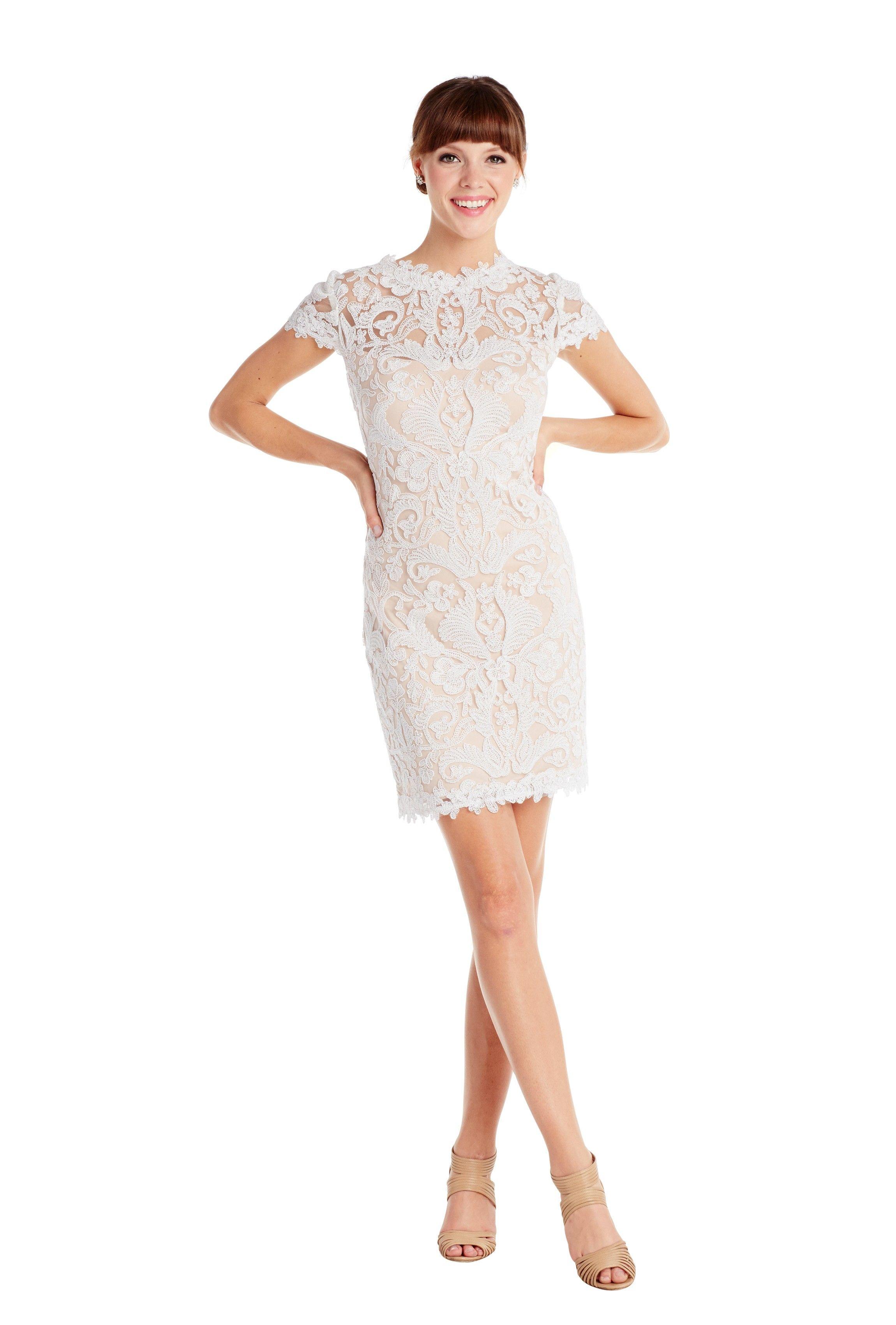 Ivory Lace Knee Length Dress Tadashi Shoji Lace Dress With Sleeves Little White Dresses Elegant Dresses [ 3400 x 2300 Pixel ]