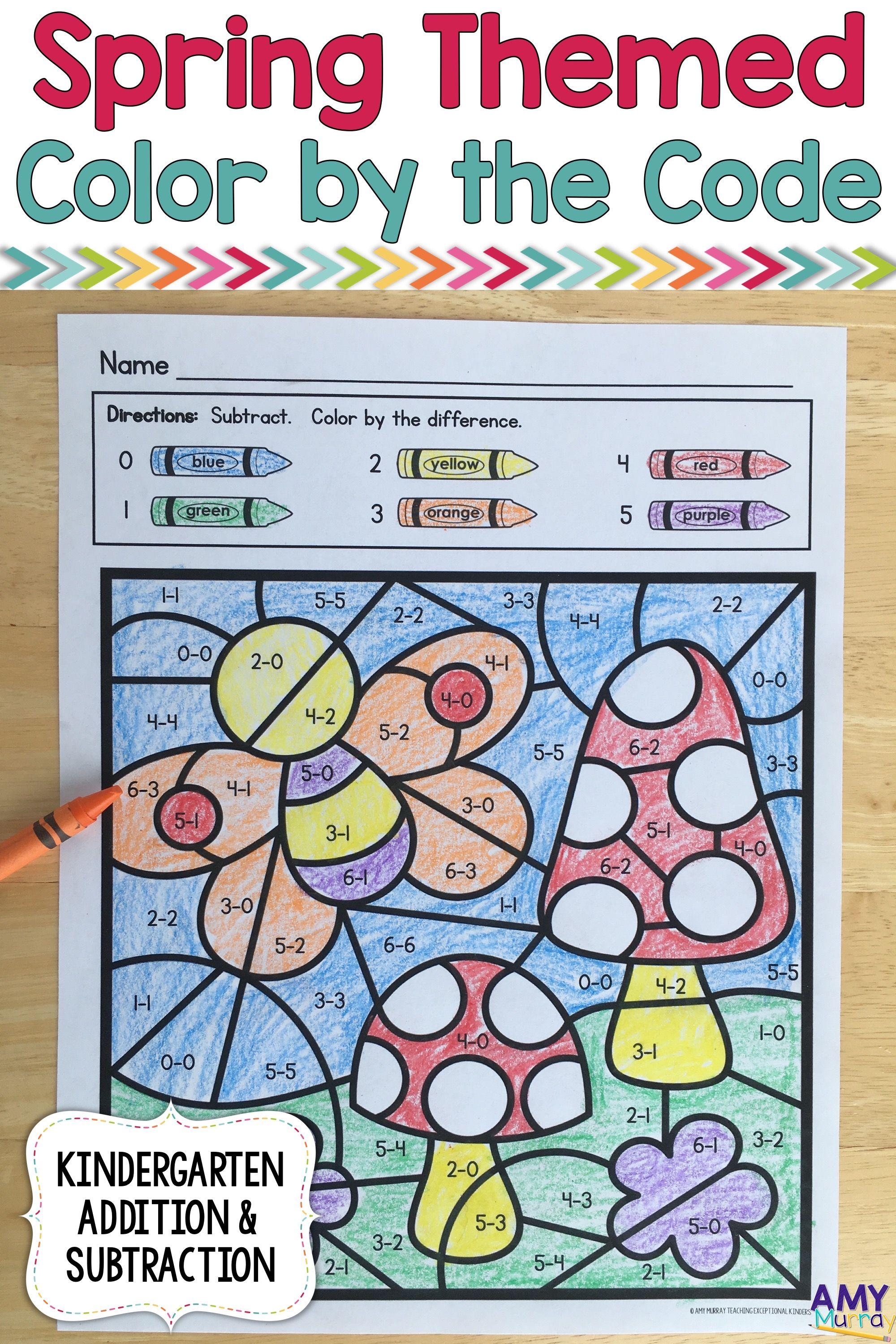 Spring Themed Color By Number Kindergarten Math Worksheets