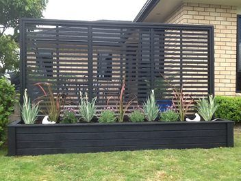 3 metre planter with trellis in black deck pinterest for Privacy planters for decks