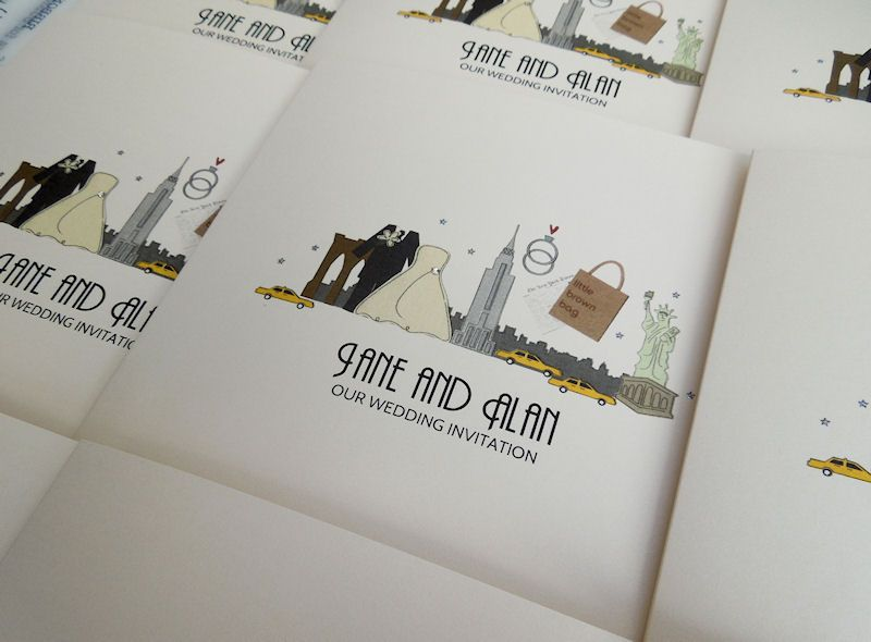 New York themed wedding invitations in ivory. Featuring the iconic ...