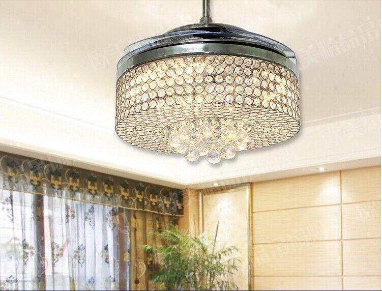 42 inch crystal chandelier fan simple fashion modern living room led fans bedroom