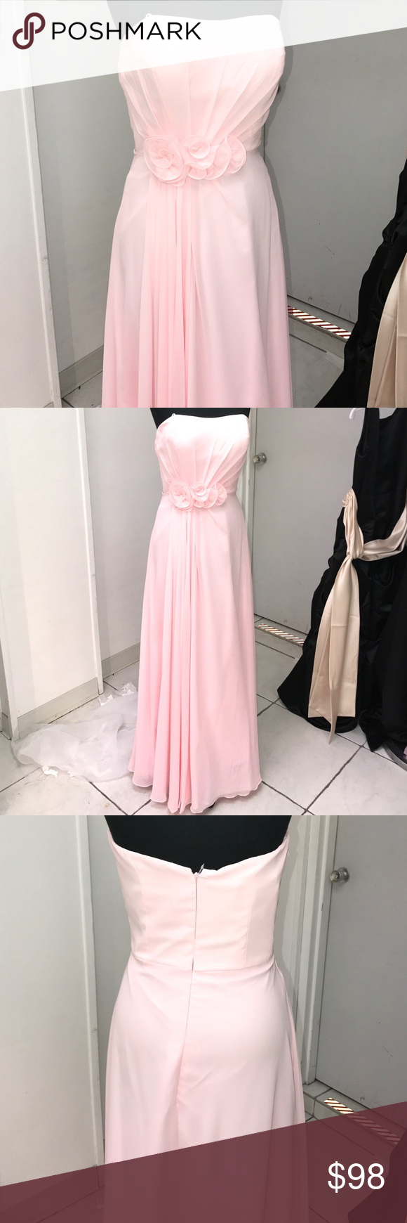 Ice pink gown Strapless side flower embellishment, draped Chiffon Dresses Strapless