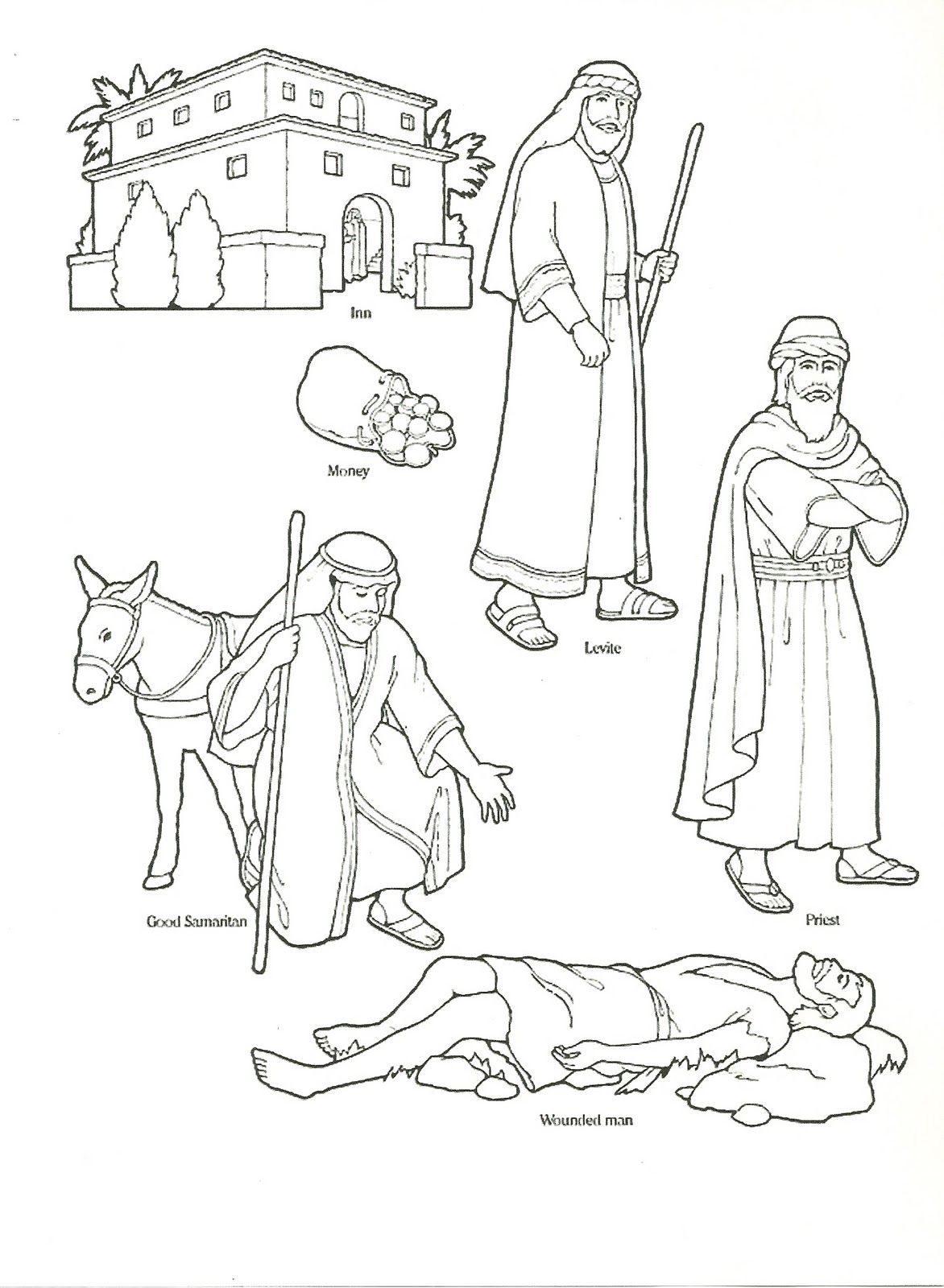 Good Samaritan Felt Board Sunday school coloring pages