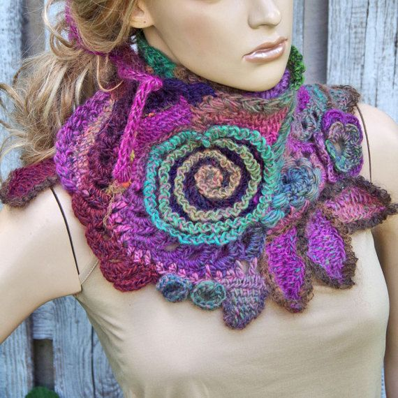 Crochet Scarf Shadows Blue purple Red Freeform crochet Neck Warmer ...