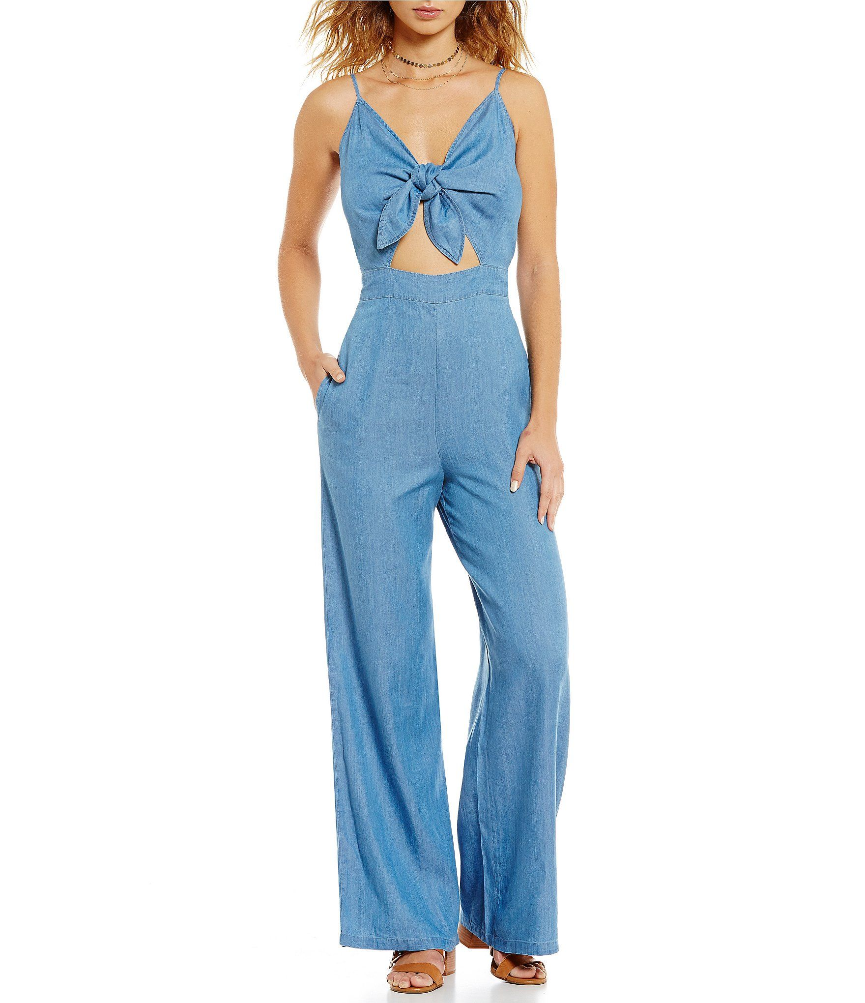 aaea889d9c GB Chambray Tie Front Cutout Jumpsuit  Dillards