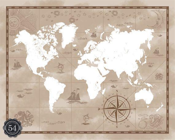 Stile mappa Vintage retrò planisfero del mondo Stampa