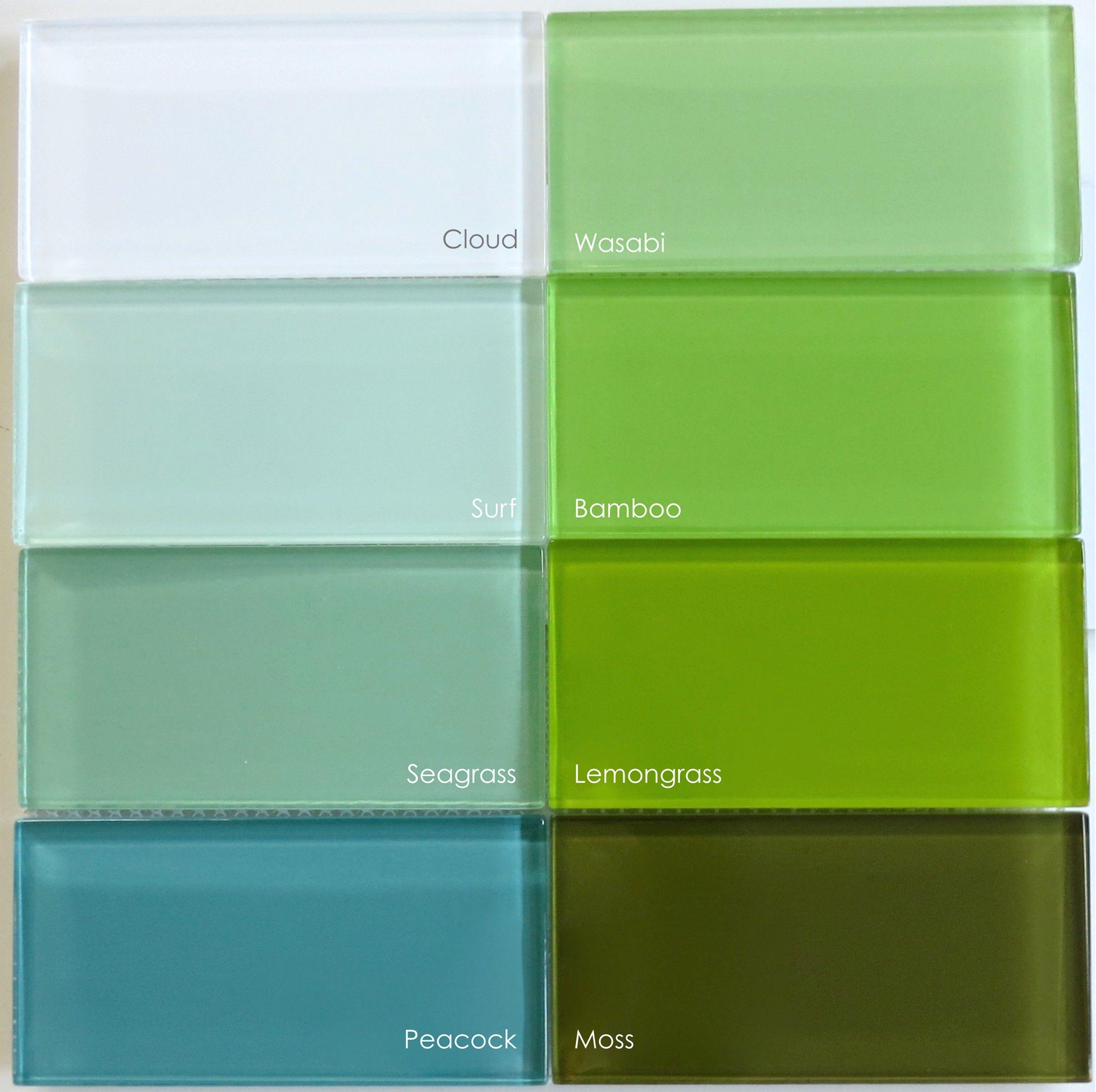 Green Glass Tile Bathroom: Green Glass Subway Tile In Bamboo