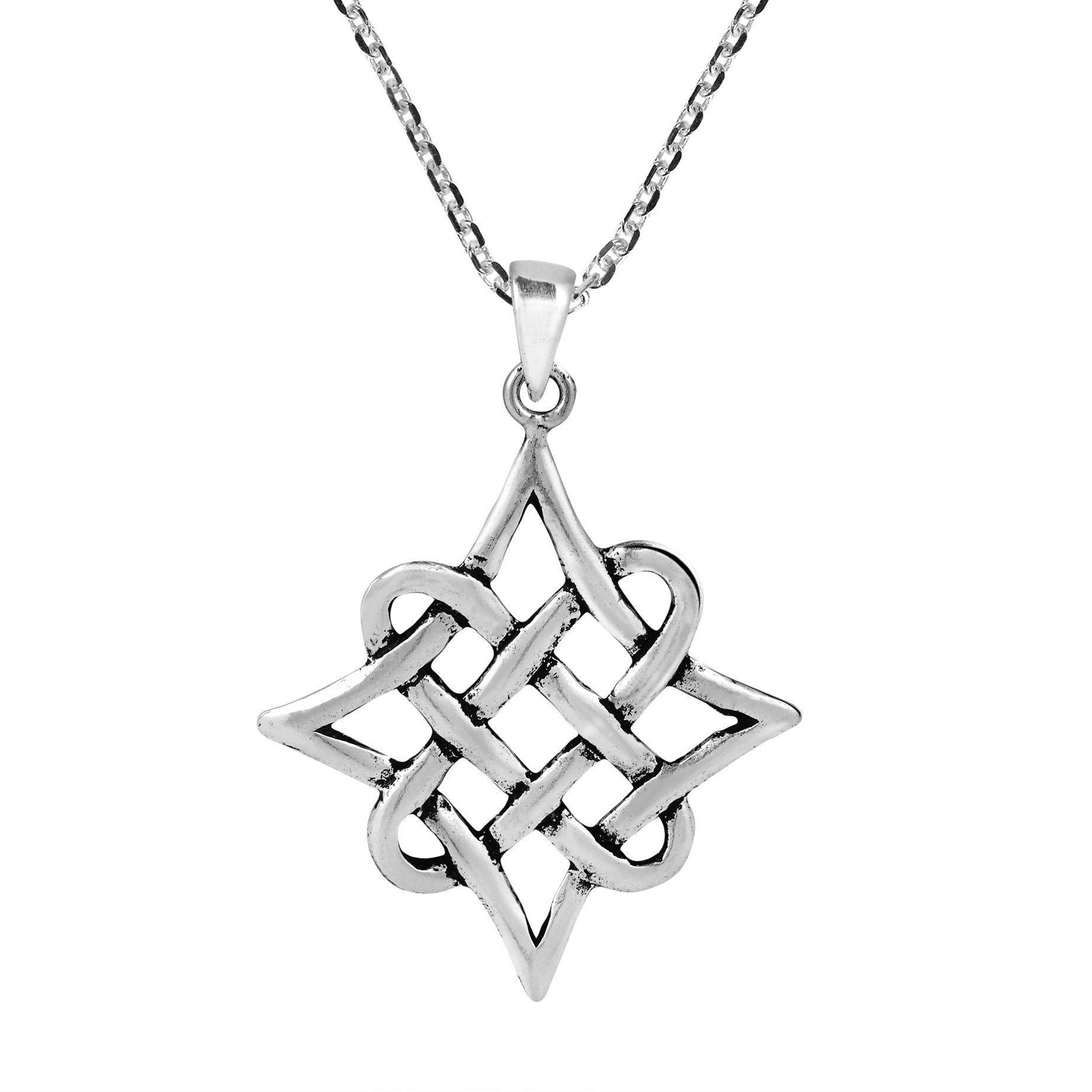 Aeravida Quaternary Celtic Knot Eternity Sterling Necklace