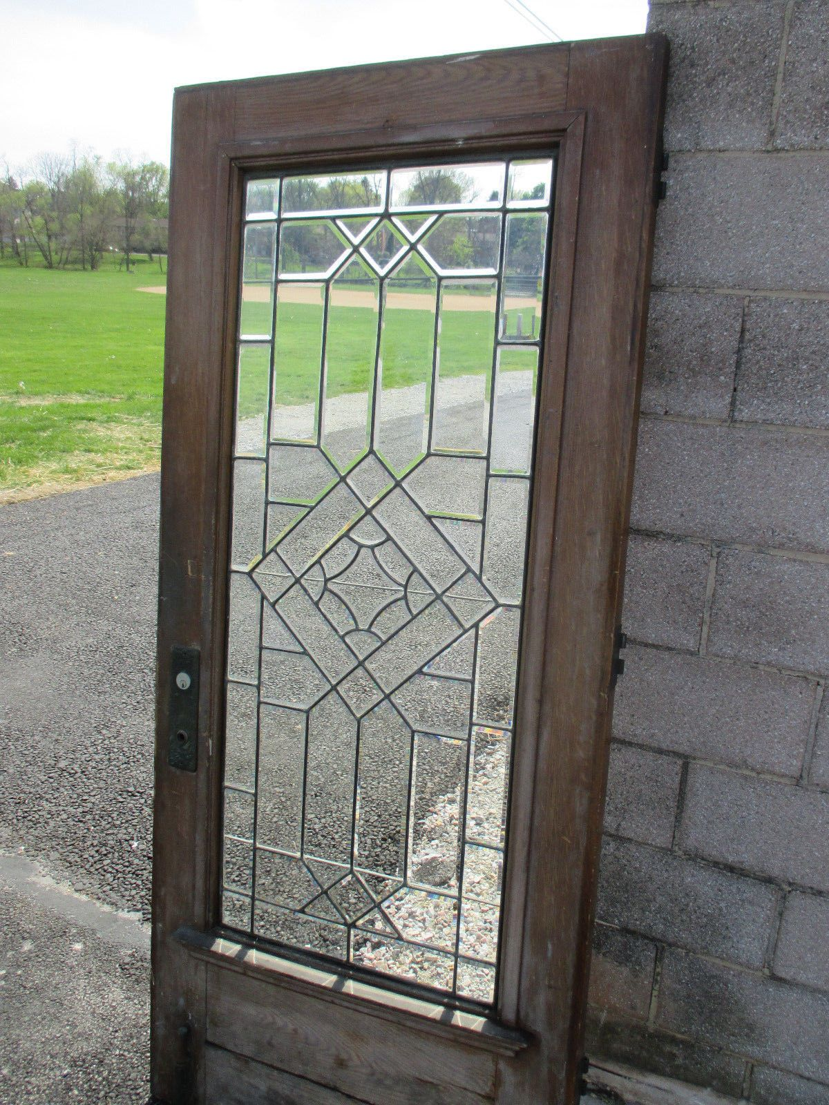 Antique Full Beveled Glass Door Zinc 355 X 80 Architectural