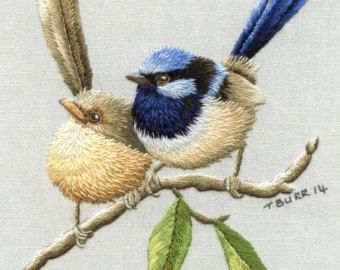 BLUEBIRDS & DAISIES by TRISHBURREMBROIDERY on Etsy