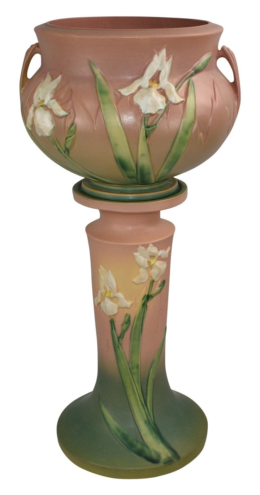 Roseville Pottery Iris Pink Jardiniere And Pedestal 647 8