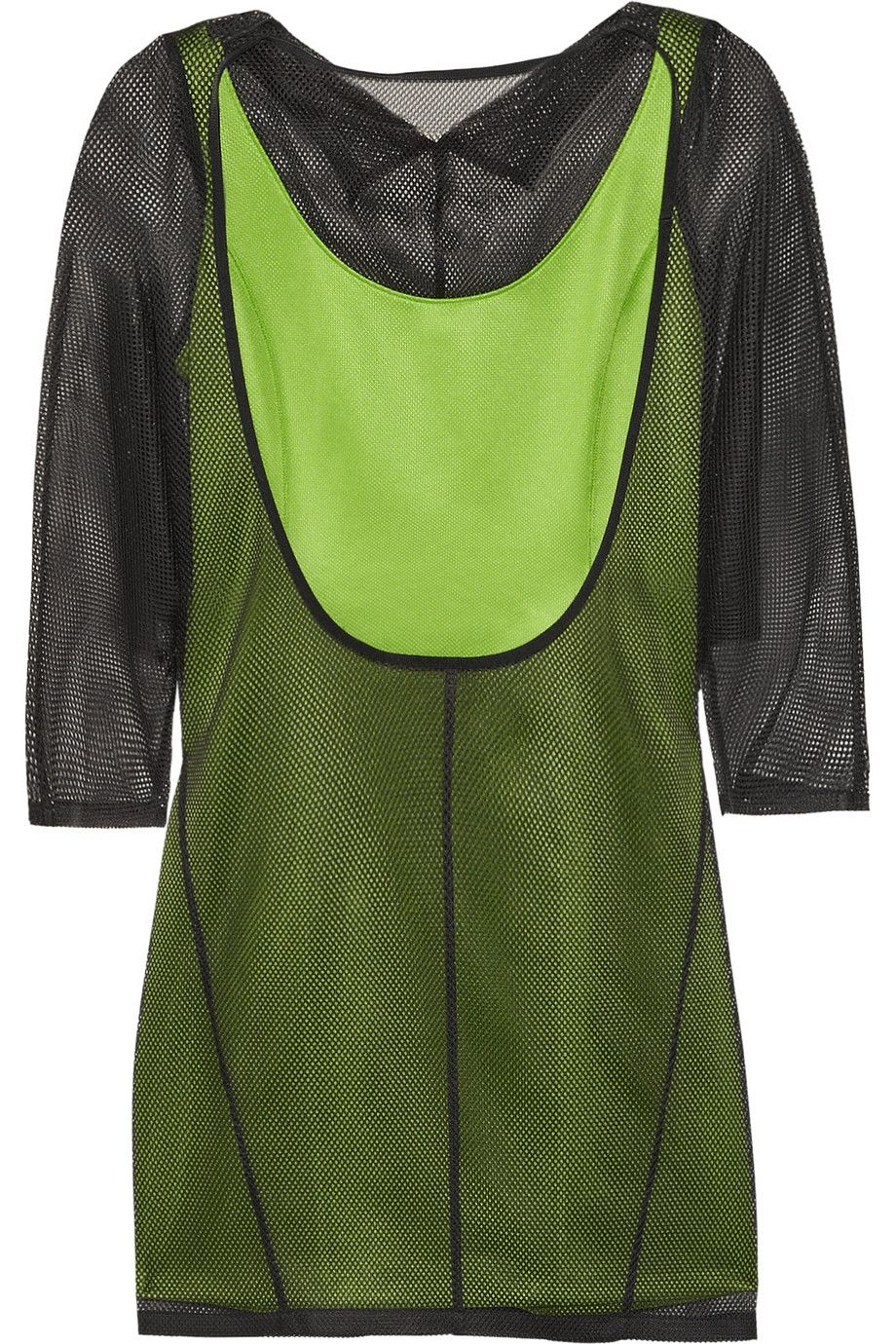 Junya WatanabeLayered mesh and neon jersey mini dress