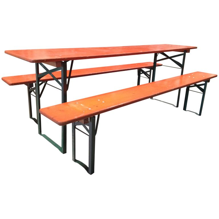 Wonderful Vintage Folding German Beer Garden Picnic Tables W/Benches