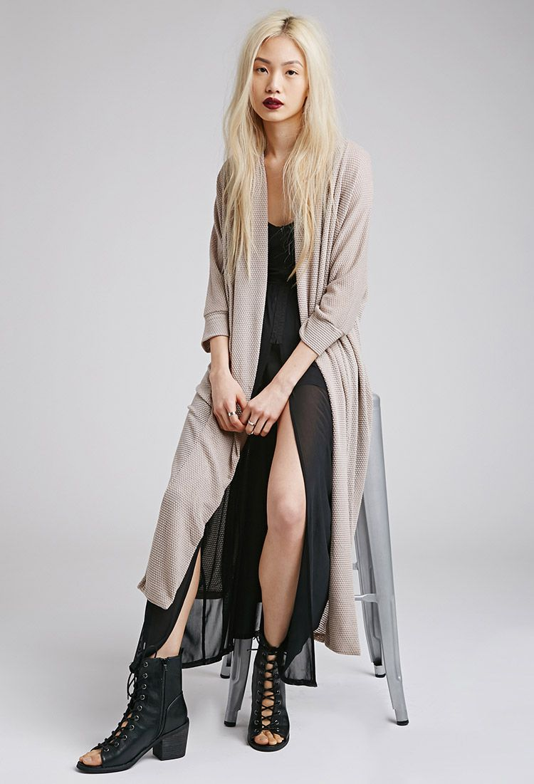 Open-Knit Longline Cardigan | FOREVER21 - 2000078855 | Outfits ...