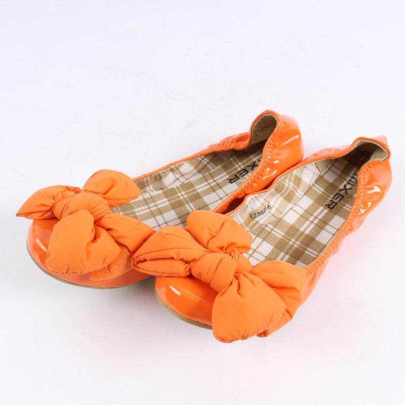 4b7551d4ae Dámské baleríny s mašlí Mixer oranžové