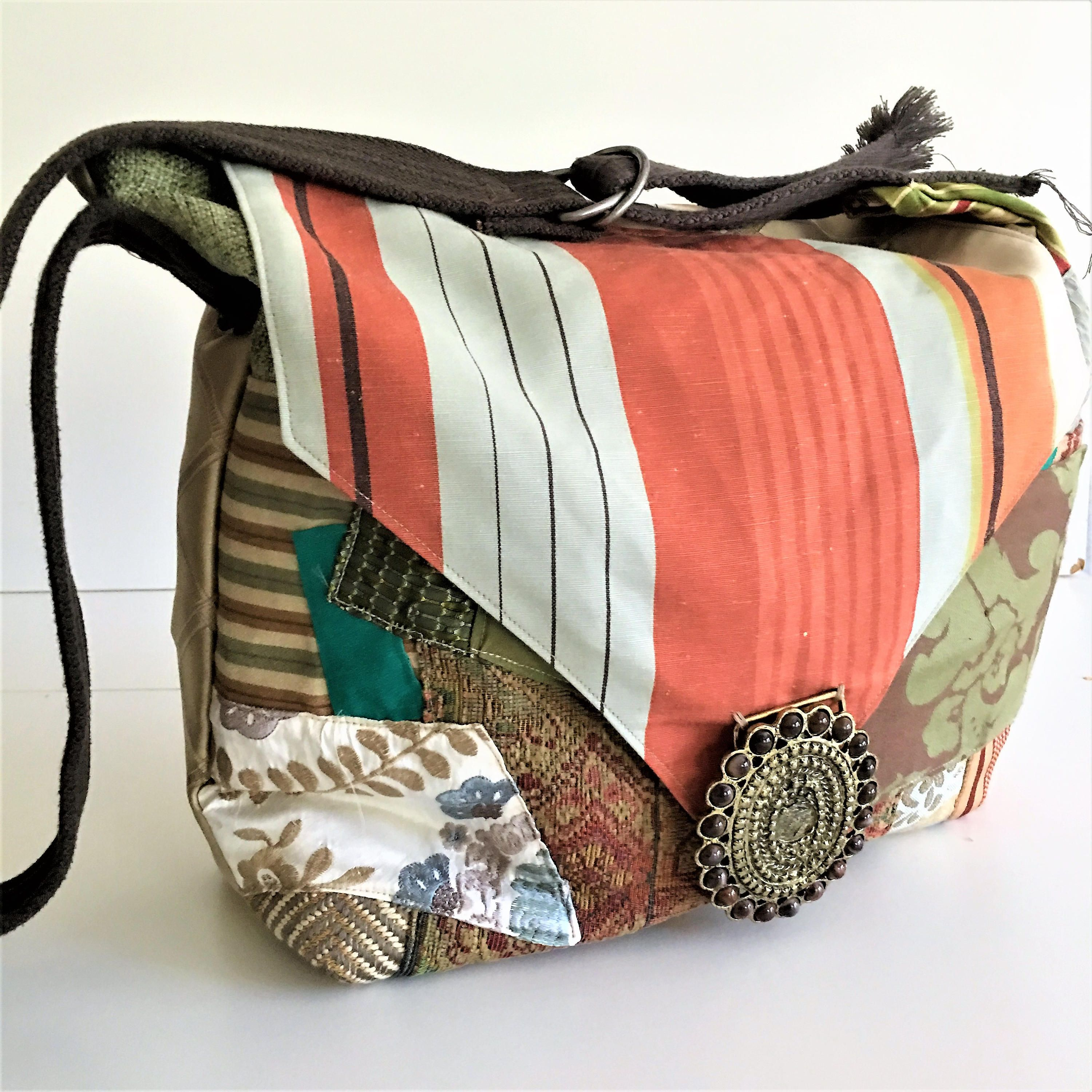 Boho Handbags Crossbody Bags Fabric Rusts And Browns Handcrafted