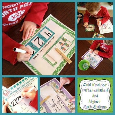 A Differentiated Kindergarten: Cold Weather Differentiated And Aligned Math Stations.