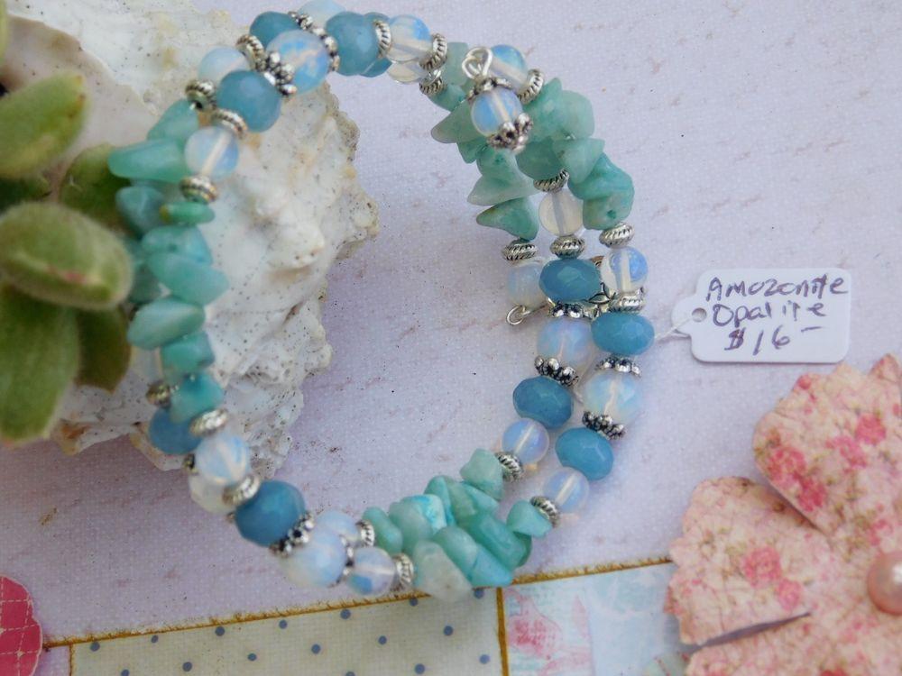 Bracelet wire wrapped Healing stones - Amazonite, Opalite