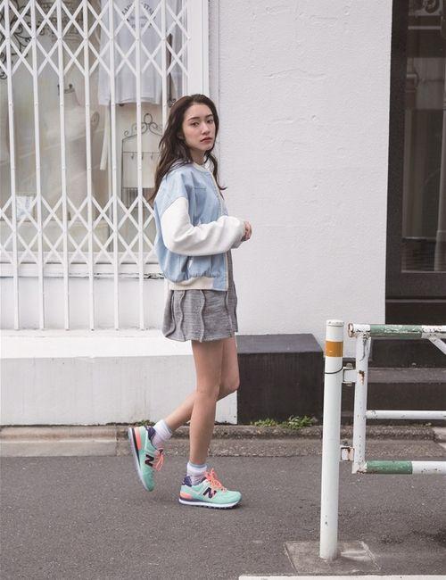 Womenu0026#39;s Light Blue Bomber Jacket Grey Casual Dress Mint Low Top Sneakers Grey Socks | Blue ...