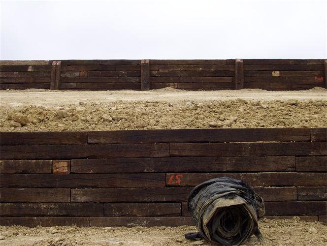 retaining wall of railroad ties railroad ties
