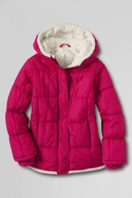 Girls' Fleece Lined Puffer Jacket from Lands' End Blue | Christmas ...